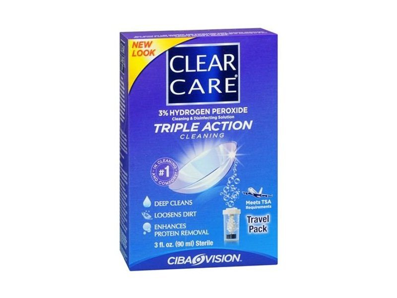 Clear Care Cleaning and Disinfecting Solution, Triple Action Cleaning, Travel Pack 3 oz (Pack of 3)