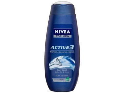 Nivea Men Active3 Body Wash for Body, Hair & Shave, 16.9 Ounce (Pack of 3) - Image 3