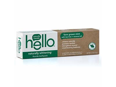 Hello Naturally Whitening Fluoride Toothpaste, Tea Tree & Coconut Oil, 4.7 oz / 133 g
