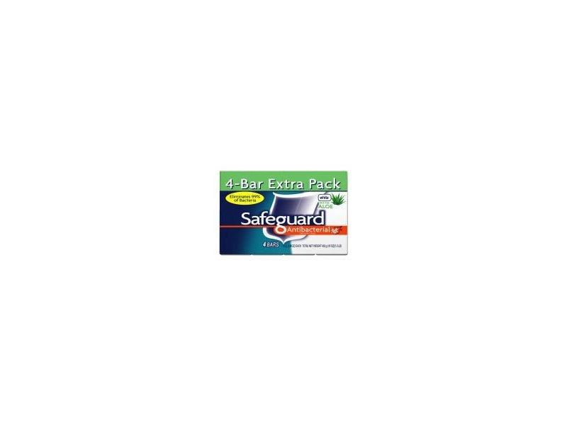 Safeguard Deodorant Antibacterial Deodorant Soap, White, 4 Count