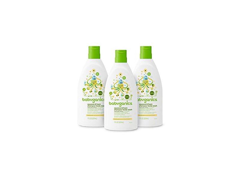 Babyganics Baby Shampoo with Squeeze Foamer Body Wash, Chamomile Verbena, 7 ounce