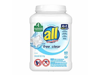 All Mighty Pacs Laundry Detergent, Free Clear for Sensitive Skin, Tub, 60 Count