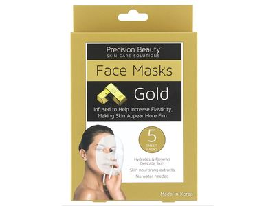 Precision Beauty Face Mask, Gold, 5 ct