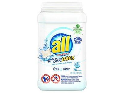 All Mighty Pacs Laundry Detergent with Stainlifters, 52.8 oz, 76 loads