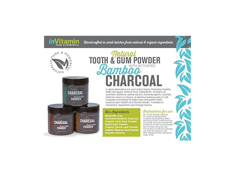 inVitamin Natural Tooth & Gum Powder with Activated Charcoal, Spearmint, 2.75 oz