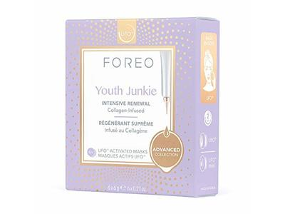 Foreo Youth Junkie Ufo Activated Mask, Intensive Renewal, 0.21 oz/6 g, 6 Count