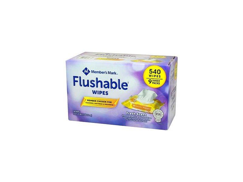 Member's Mark Flushable Wipes, 60 wipes (9 pack)