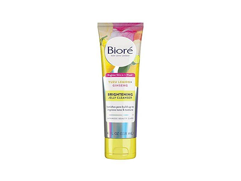 Biore Brightening Jelly Cleanser,Yuzu Lemon + Ginseng, 4 fl oz/118 mL
