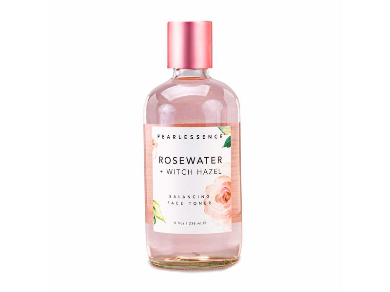 PearlEssence Rose Water + Witch Hazel Face Toner, 8 fl oz/236 ml