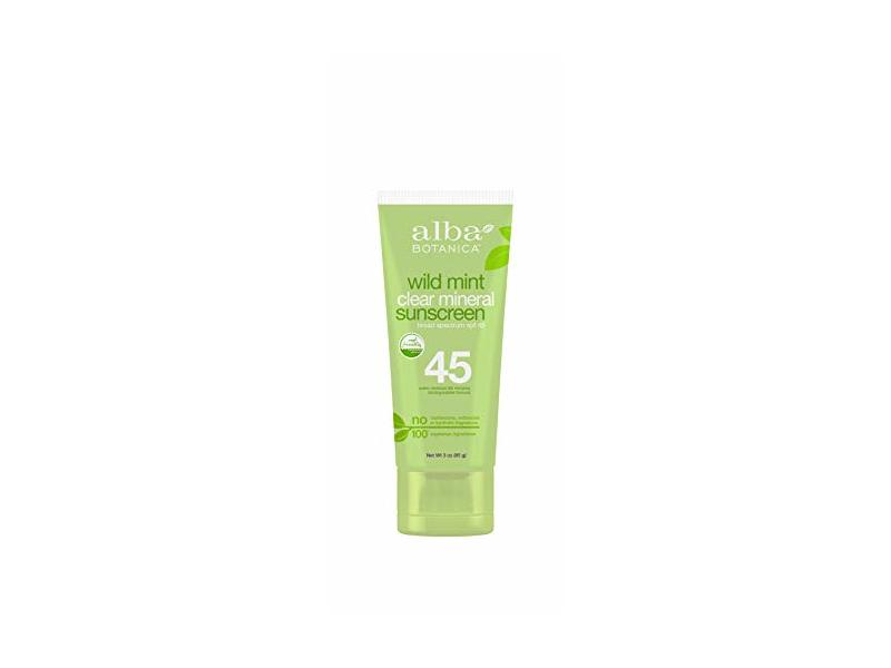 Alba Botanica Wild Mint Clear Mineral Sunscreen SPF 45, 3 oz