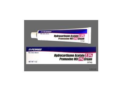 Hydrocortisone Acetate/Pramoxine Hydrochloride 2.5%-1% Topical Cream (RX), 7 Oz, Perrigo - Image 1