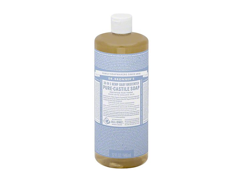 Dr. Bronner's 18-in-1 Hemp Baby Unscented Pure-Castile Soap, 32 fl. oz.