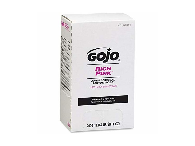 Gojo Rich Pink Antibacterial Lotion Soap, 2000 mL