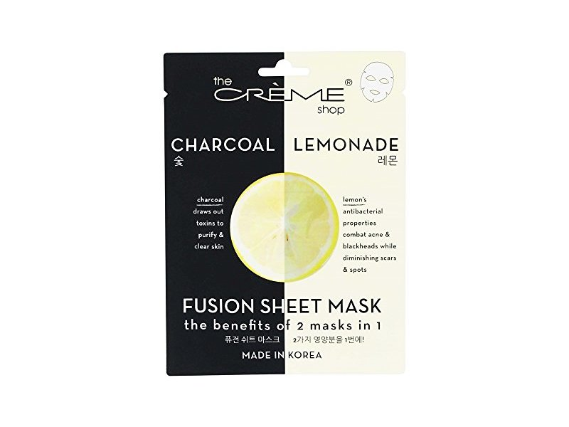 The Creme Shop - 2 in 1 Charcoal & Lemonade Fusion Facial Sheet Mask - 1 Count