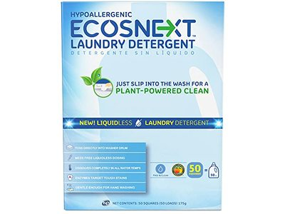 ECOSNEXT Laundry Detergent Liquidless, Free & Clear, 50 Count, 175 g