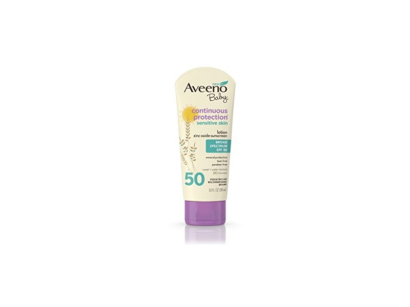 Aveeno Baby Continuous Protection Lotion Sunscreen, Broad Spectrum, SPF 50, 30 fl oz