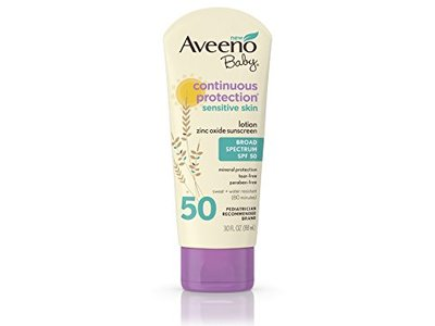 Aveeno Baby Continuous Protection Lotion Sunscreen, Broad Spectrum, SPF 50, 30 fl oz - Image 1