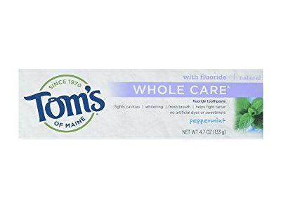 Tom's Of Maine Whole Care Fluoride Natural Toothpaste, Peppermint, 4.7 oz