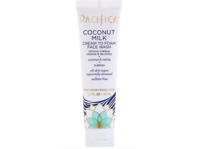 Pacifica Coconut Milk Cream To Foam Face Wash, 1.4 fl oz/40 ml