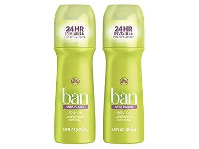 Ban Roll-On Antiperspirant Deodorant, Satin Breeze, 3.5oz (Pack of 2)