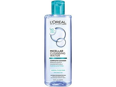 L'Oreal Paris Micellar Cleansing Water Complete Cleanser, Normal to Oily Skin, 13.5 fl. oz.