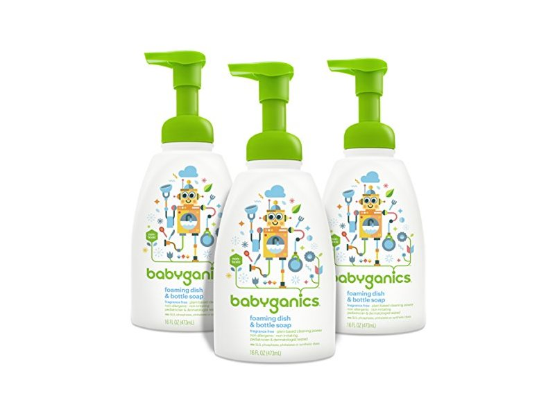 Babyganics Foaming Dish and Bottle Soap, Fragrance Free, 16oz Pump Bottle