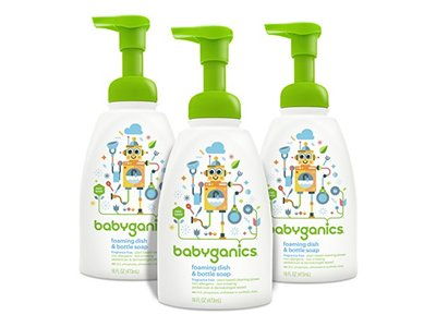 Babyganics Foaming Dish and Bottle Soap, Fragrance Free, 16oz Pump Bottle