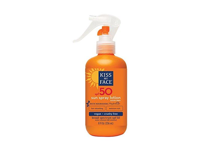 Kiss My Face Sun Spray Natural Sunscreen Lotion With Hydresia SPF 50 Sunblock, 8 oz