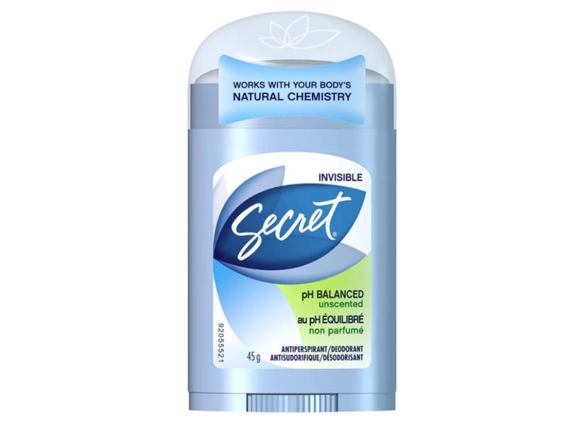 Secret Invisible Ph Balanced Antiperspirant/Deodorant, Unscented, 45 g