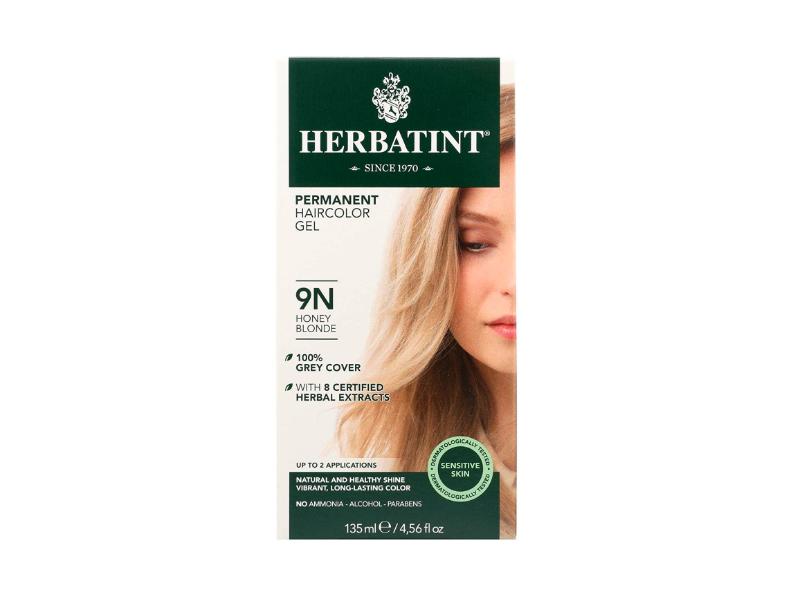 Herbatint Permanent HairColor Gel, 9N Honey Blonde, 4.56 fl oz/135 mL