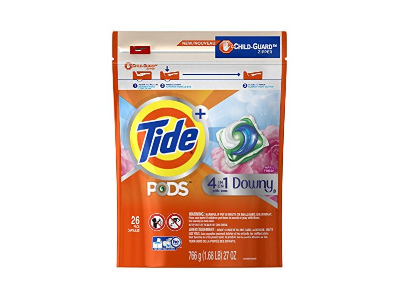 Tide Pods Plus 4-in-1 Downy Laundry Detergent Pacs, April Fresh, 26 ct