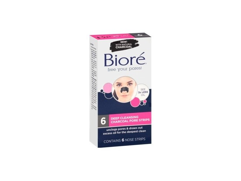 Biore Deep Cleansing Pore Nose Strips Charcoal 6 Count (2 Pack)