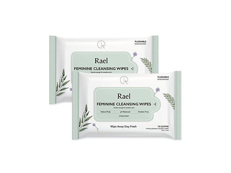 Rael Feminine Cleansing Wipes, 10 cloths