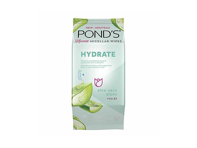 Pond's Vitamin Micellar Wipes, Hydrate Aloe Vera, 25 Wipes