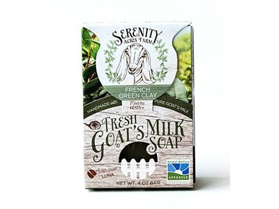 Serenity Acres Farm, French Green Clay, Fresh Goat's Milk Soap, 4 oz