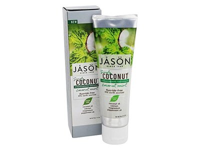 JASON Natural Products Simply Coconut Strengthening Toothpaste, Coconut Mint, 4.2 oz. - Image 1