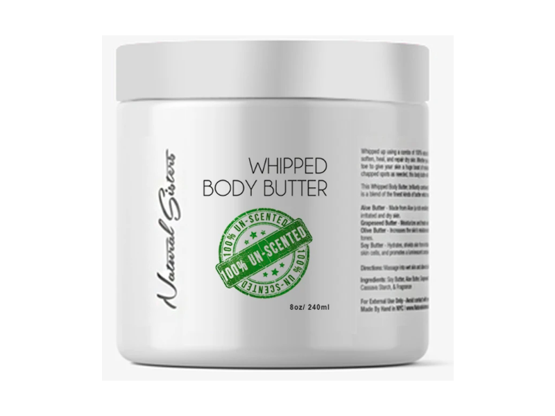 Natural Sisters Whipped Body Butter, UnScented, 8 oz/240 ml