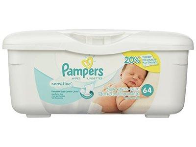 Pampers Sensitive Baby Wipes Tub, 64 Wipes/Tub