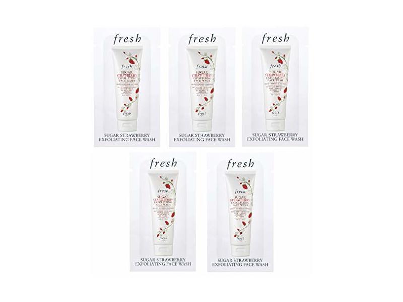 Fresh Sugar Strawberry Exfoliating Face Wash, Sample Packets Set of 5