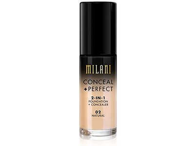 Milani Conceal + Perfect 2-in-1 Foundation Concealer, Natural, 1.0 Fluid Ounce