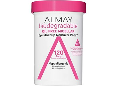 Almay Biodegradable Oil Free Micellar Eye Makeup Remover Pads, Hypoallergenic, 120 Count