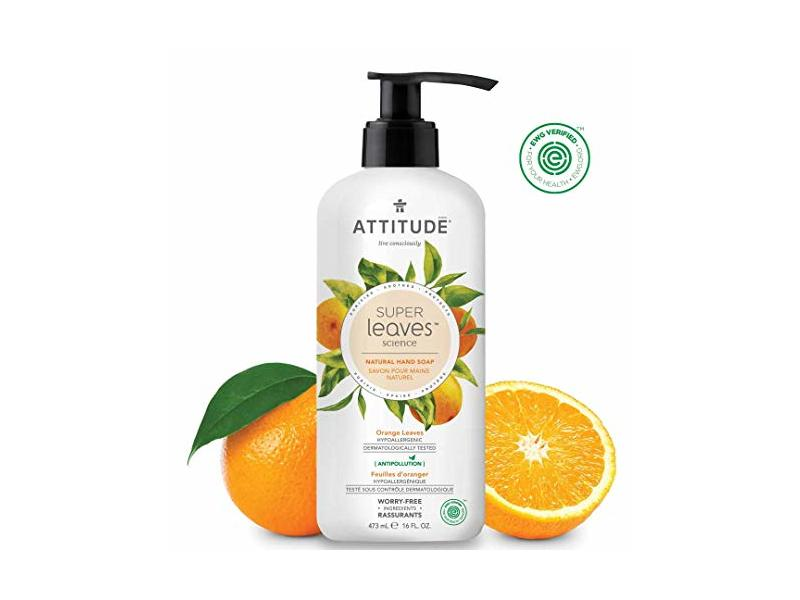 ATTITUDE Super Leaves, Hypoallergenic Hand Soap, Orange Leaves, 16 Fluid Ounce