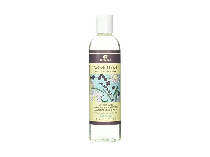 Bretanna Witch Hazel Face & Body Toner, Lavender & Chamomile Essential Oil & Aloe, 8.75 fl oz
