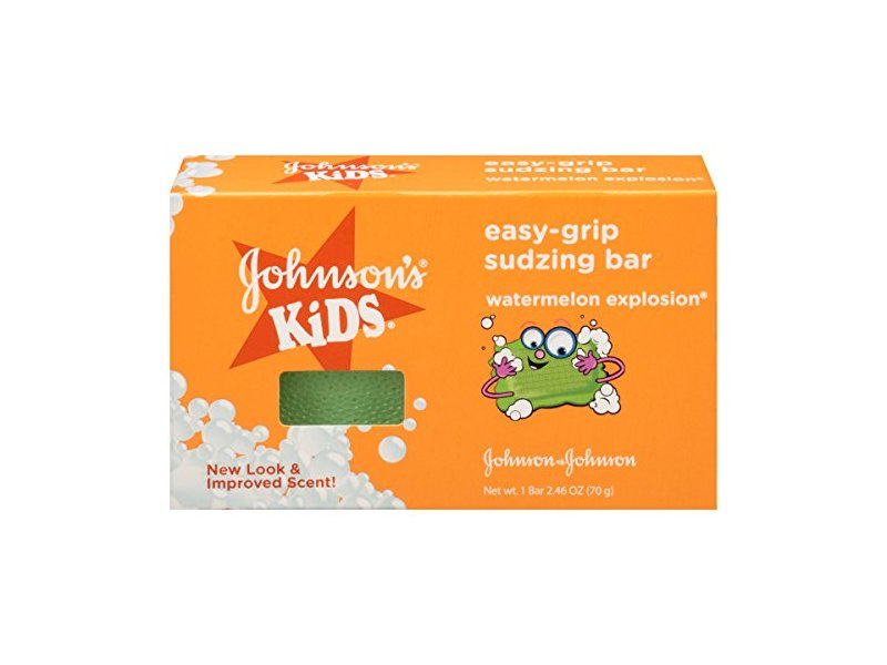 Johnson's Kids Easy-Grip Sudzing Bar, Watermelon Explosion, 2.46 oz