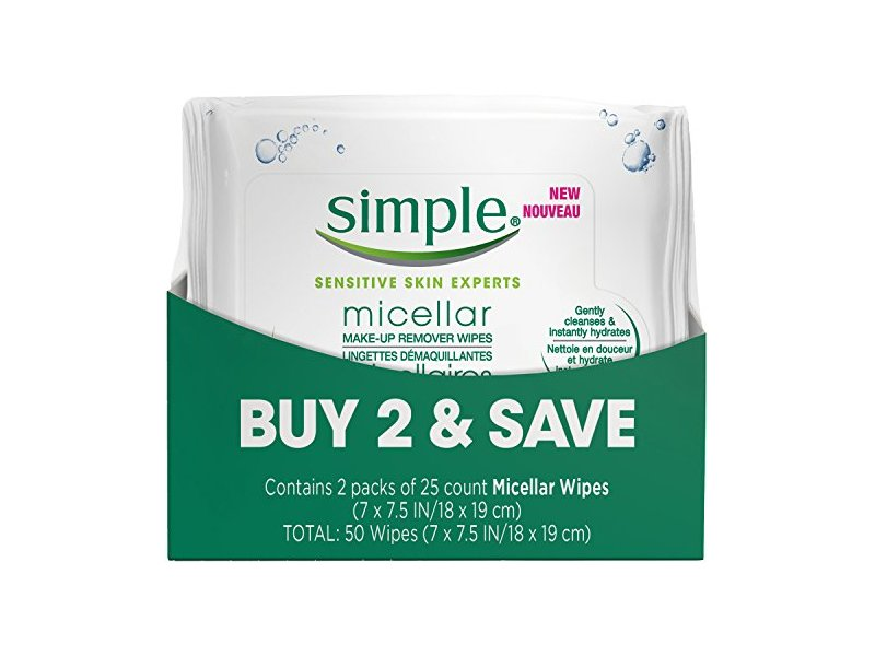 Simple Sensitive Skin Experts Micellar Wipes, Twin Pack, 25 Count
