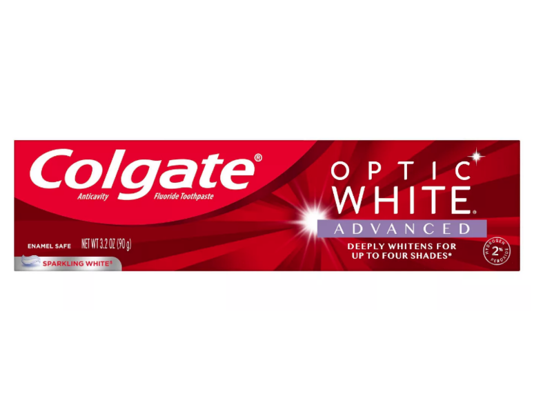 Colgate Optic White Advanced Whitening Toothpaste, Sparkling White, 3.2 oz / 90 g, Pack Of 3