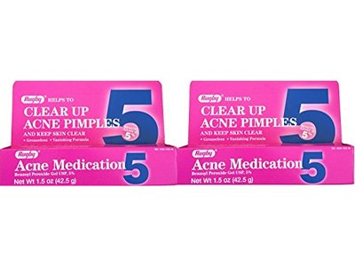 Rugby Clear up Acne Medication, Benzoyl Peroxide Gel USP 5%, 1.5 oz (2 tubes)