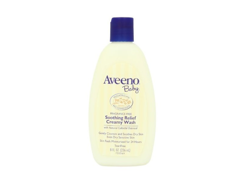 Aveeno Baby Creamy Wash Soothing Relief Fragrance Free 8 oz (Pack of 3)