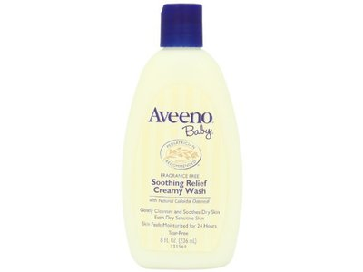 Aveeno Baby Creamy Wash Soothing Relief Fragrance Free 8 oz (Pack of 3) - Image 1