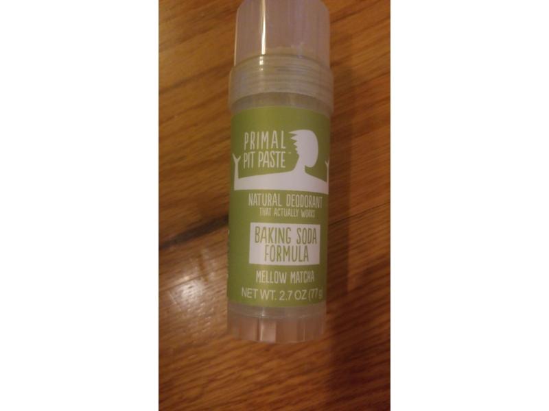Primal Pit Paste Natural Deodorant Baking Soda Formula, Mellow Matcha